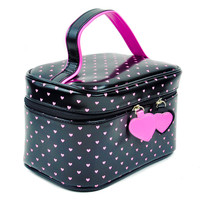Black & Pink Heart Makeup Bag / Purse