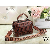 Fendi 2018 new trend fashion women's double F letter embossed portable Messenger bag brown