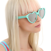Aqua Soft Touch Mirror Heart Sunglasses