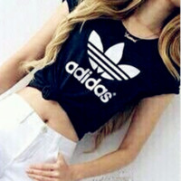 "Women Fashion ""Adidas"" T-Shirt Top Black"