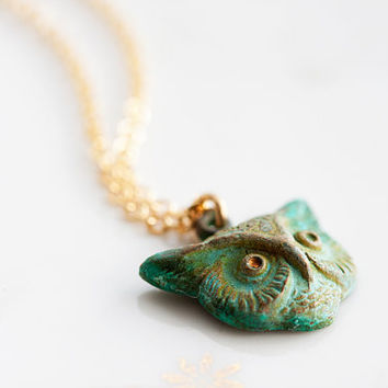 Patina Owl Necklace Verdigris Owl Pendant Rustic Green Patina Owl Charm Forest Owl Jewelry - N181