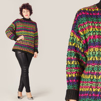 80s Neon Ethnic Turtleneck Sweater / Black Printed Motif Oversize Jumper / Colorful Large L Avant Gard Knit Sweater