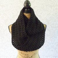 Ready To Ship Infinity Scarf Crochet Knit Large Black Women's Accessories Eternity Fall Winter