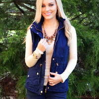 SZ XL Going Glamping Navy Fur Lined Vest