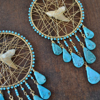 TURQUOISE JAWS Turquoise and Shark Tooth Wire Wrapped Festival Jewelry, Gypsy, Earthy, Long Dangle Native Tribal Earrings