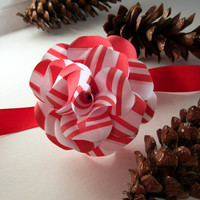 Candy Cane  Striped Paper  Roses  with Floral Wire Stem  Set of 3