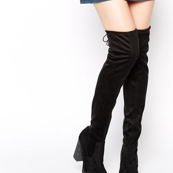 Free People North Star Black Over The Knee Heeled Boots