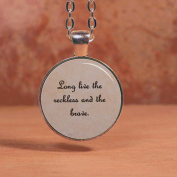 """All Time Low """"Long live the reckless and the brave."""" Lyrics Song Text Poem Pendant Necklace"""
