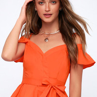 Carly Coral Orange Off-the-Shoulder Wrap Top