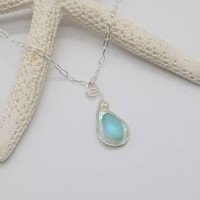Beach lovers gift, genuine sea glass necklace, beach necklace, sterling silver seaglass jewelry, gift for her