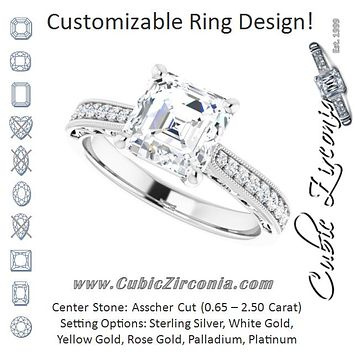 Cubic Zirconia Engagement Ring- The Lina (Customizable Asscher Cut Design with Round Band Accents and Three-sided Filigree Engraving)
