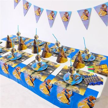 135pcs/lot 10 kids Beauty and Beast Party Set Tableware Plate Napkins Happy Birthday Cartoon Forks Baby Shower Party Decoration