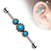 Triple Turquoise Industrial barbell Gold Surgical Steel 14ga Body Jewelry