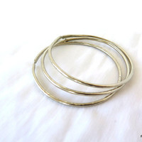 Thick hammered bangles, Ethnic tribal open bangles, 3 silver cuff bracelets