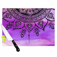 "Li Zamperini ""Lilac Mandala"" Lavender Purple Cutting Board"