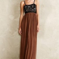 Beaded Curlicue Dress by Anthropologie Brown