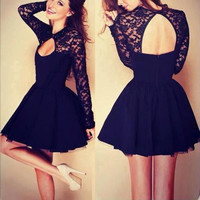 Black Lace Long Sleeve Mini Party Dress