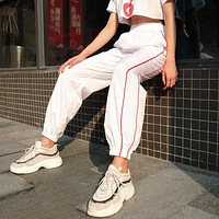 2018 Design White High Waist Pants