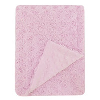 Northpoint Mon Lapin Rose Carving Faux Fur Baby Blanket, Pink