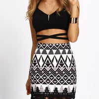 Geometric Print Contrast Lace Bodycon Skirt