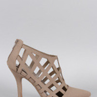 Women's Qupid Grid Cage Ankle Bootie