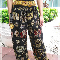 Black Elephant Pants Baggy Boho Style Printed Hippie Gypsy Thai Tribal Plus Size Rayon Aladdin Clothing Beach Baggy Casual Gift Rayon Tank