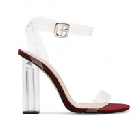 Strappy Lucite Clear Heels Ruby Red