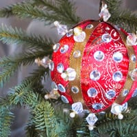 Christmas Ornament, Red Ball with Gold, Silver, & Pearl Accents in Gift Box, Handmade Fabric Tree Decoration, Holiday Decor, Wrapped Present