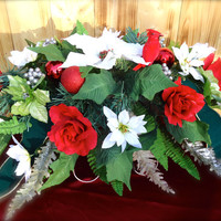 "Headstone Floral Saddle Arrangement ""Forever in My Heart"" - Cemetery, Memorial Saddle, Remembrance, Gravesite Flowers, Funeral Arrangement"