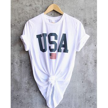 Distracted - USA Unisex Graphic Tee in White
