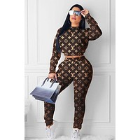 LV Louis Vuitton Fashion Monogram Print Sports Leisure Hooded Long Sleeve Sweater Top and Pants Two Piece Suit