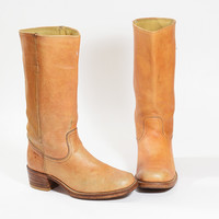 Vintage FRYE Boots  Rocker Campus Caramel Blonde Leather Boots Womens Size 10  Mens size 8.5