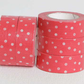 White and Red Polka Dot Washi Tape, Spotted Tape Labeling Idea or , 15mm