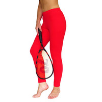 Red Leggings Yoga Pants clothes Fuzzy Lycra fitness activewear