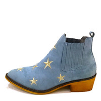 """""""Tetsu"""" Star Embroidered Cowboy Ankle Boots - Light Blue"""
