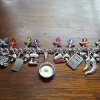 Chef / cooking themed charm bracelet