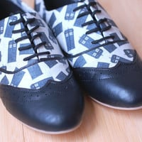 Made To Order-Doctor Who Tardis Women's Oxfords-FREE matching bow