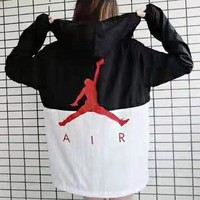 NIKE Jordan New fashion letter people print contrast color hooded long sleeve top windbreaker