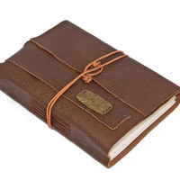 Brown Leather Journal with Bookmark by boundbyhand on Etsy