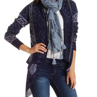 Blue Combo Patterned Cascade Cardigan Sweater by Charlotte Russe