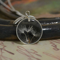 Romantic pendant necklace with a real dandelion seeds  Eco chic style! Eco-friendly botanical jewelry - dandelion -p0048-3