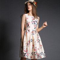 Floral Sleeveless High Waist A-Line Mini Pleated Dress