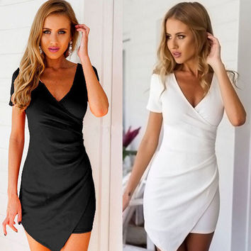 Fashion deep v bodycon solid color dress