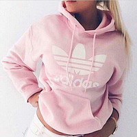 Womens Adidas Hooded Top Sweater Pullover Sweatshirt