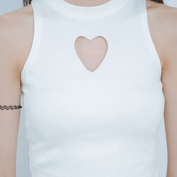 White Heart Cut Out Tank Top