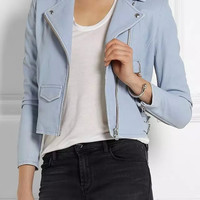 Casual Blue Faux Leather Zipper Pocket Long Sleeve Zipper Front Jacket