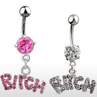 "Belly Ring With Pink Gems and Dangling ""Bitch"" - 14G - 3/8"" Bar Length - Sold Individually"