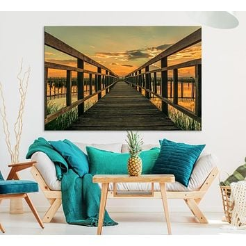 Large Walkway at Sunset Wall Art Wooden Bridge Landscape Canvas Print