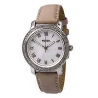 Fossil ES3189 Women's Emma MOP Dial White Leather Strap Watch