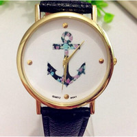 New Hot Women's Ladies Quartz Watch Vintage Flower High Quality Relogio Feminino Watch Anchor PU Leather Wrist Watch #LSIN